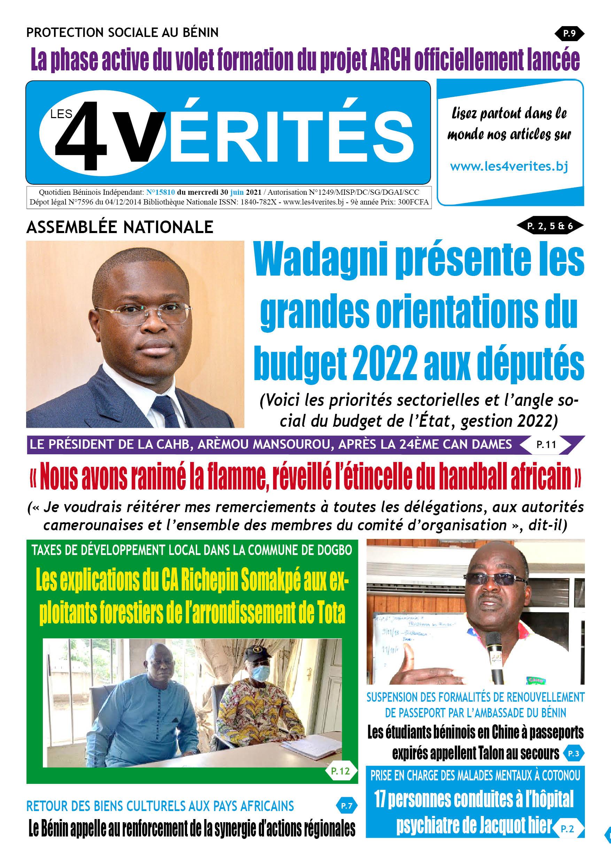 La Une du journal Les 4 Vérités du mercredi 30 juin 2021 ...